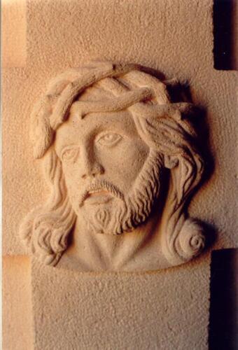 Detalle de talla en piedra Rosa Sepúlveda.