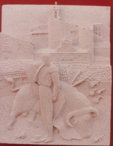 Victoriano de la Serna toreando en Sepúlveda (Segovia). Piedra Rosa Sepúlveda. Medidas 70 X 55 cm.
