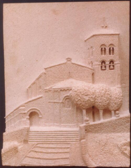 Iglesia de El Salvador en Sepúlveda (Segovia). Piedra Rosa Sepúlveda. Medidas 40 X 30 cm.