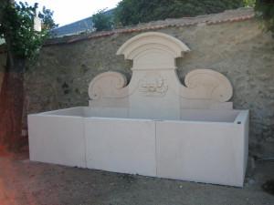 Reproducción en Piedra Rosa Sepúlveda de una fuente en La Granja de San Ildefonso (Segovia).