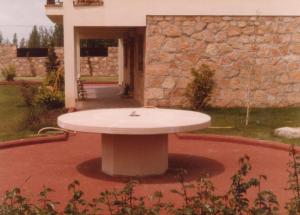 Mesa de jardín en chalet particular. Medidas 2 m de diámetro. Piedra Rosa Sepúlveda abujardada.