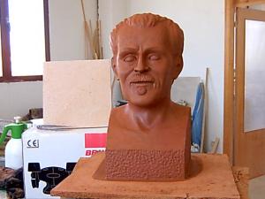 """Modelado de arcilla del busto de Isaac de Frutos """"El carterillo""""."""