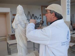Proceso de talla del Corazón de Jesús. Piedra de Campaspero.