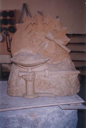 Modelado de arcilla de la escultura del Centro Experimental de Formación Profesional de Cajamarca – PERÚ.