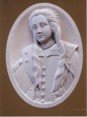 Medallón de Dª Teresa Enríquez de Torrijos (Toledo) de 85 X 16 cm. Piedra Rosa Sepúlveda.