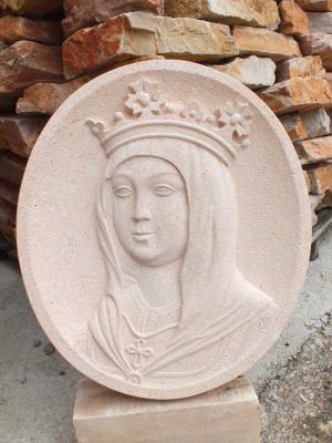 Medallón de Isabel la Católica del Monolito de Valmojado (Toledo)Tallado en Piedra Rosa Sepúlveda de 50 cm.