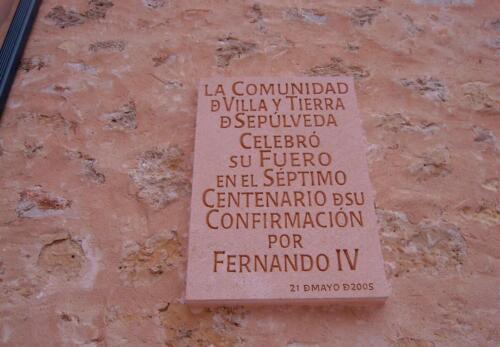 Placa conmemorativa del Centenario del Fuero de Sepúlveda. (Segovia) 70 x 50 cm.