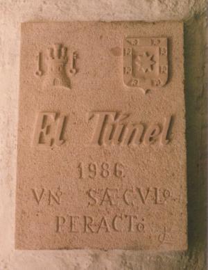Placa conmemorativa del Centenario de El Túnel de 40x30 cm. Sepúlveda (Segovia).