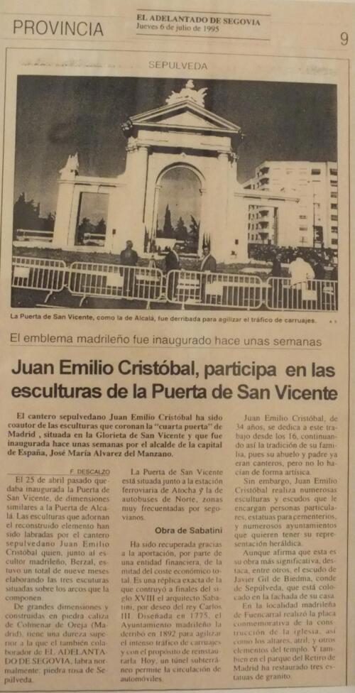 Periódico El Adelantado de Segovia del día 6 de julio de 1995.