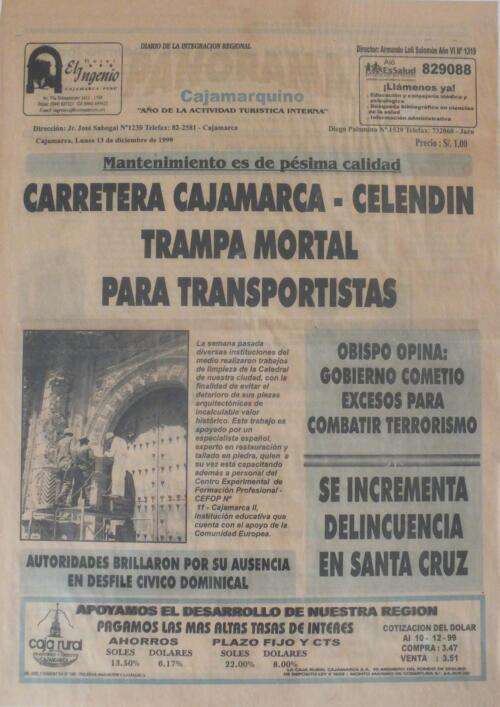 Portada del periódico Panorama Cajamarquino. Cajamarca - Perú -  13-Diciembre-1999.