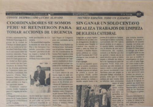 Periódico El Clarín de Cajamarca –Perú-. 13 –Diciembre-1999.