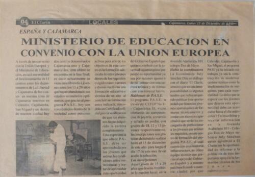 Periódico El Clarín de  Cajamarca- Perú- 13- Diciembre-1999.