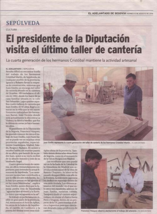 Periódico El Adelantado de Segovia – 12 –Agosto-2016.