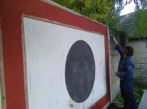 Momento de ejecución de esgrafiado Segoviano.